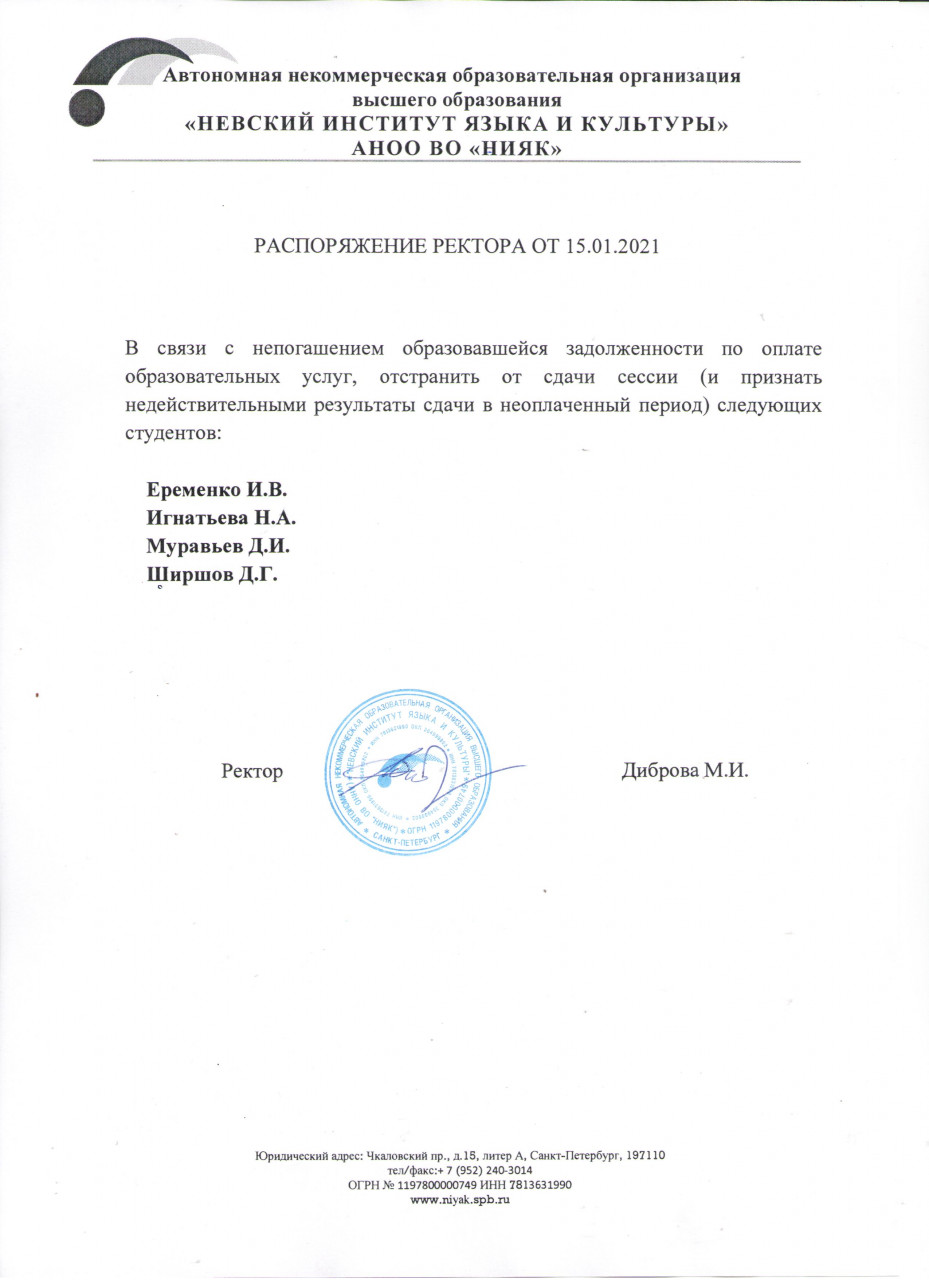 Распоряжение ректора от 15.01.2021
