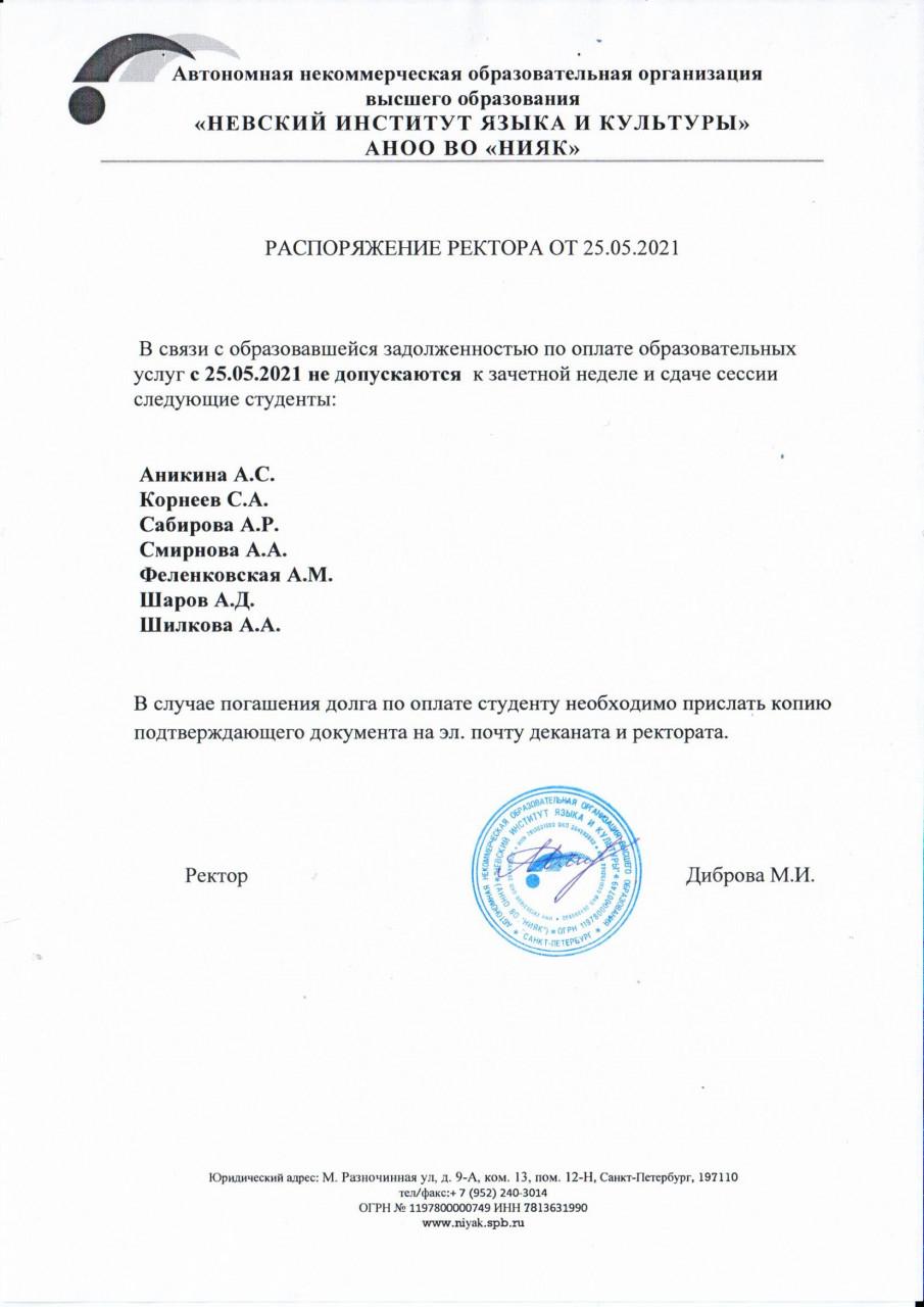 Распоряжение ректора от 25.05.2021